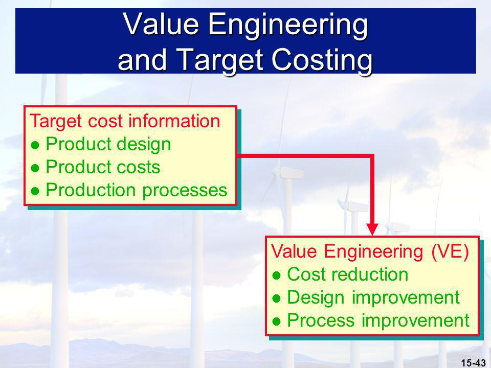 15-43 Value Engineering and Target Costing Target cost information Product design Product costs Production processes Target cost information Product d