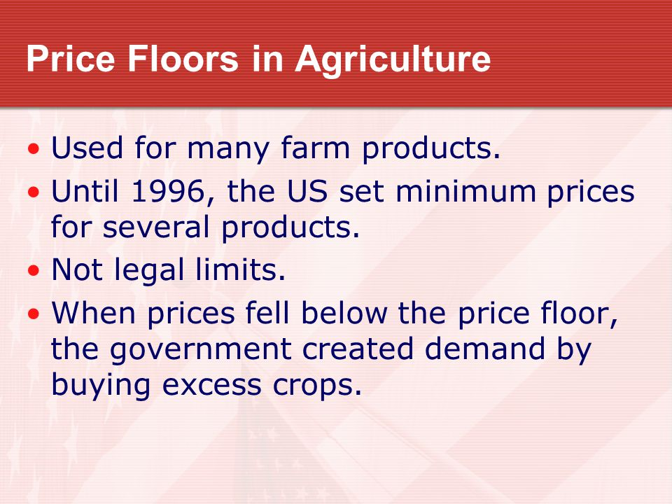Price Floors in Agriculture Congress abolished agricultural price floors because they conflicted with free enterprise.