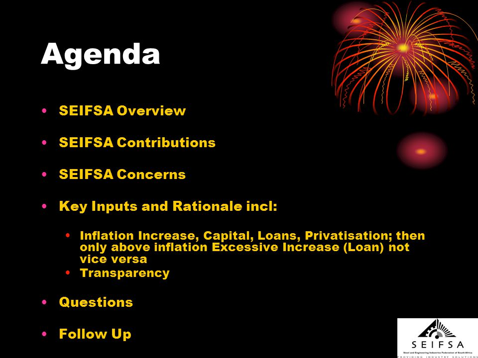 SEIFSA Overview SEIFSA, through its member associations, represents 2300 companies employing 230 000 people, ranging from unskilled to professionals.