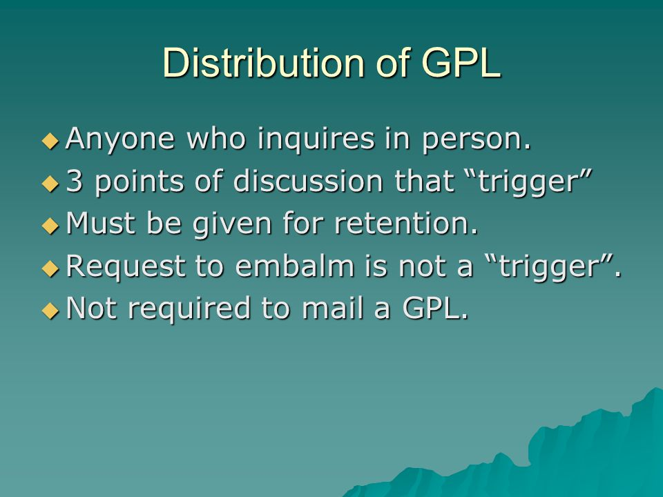 Distribution of GPL Anyone who inquires in person. Anyone who inquires in person. 3 points of discussion that trigger 3 points of discussion that trig