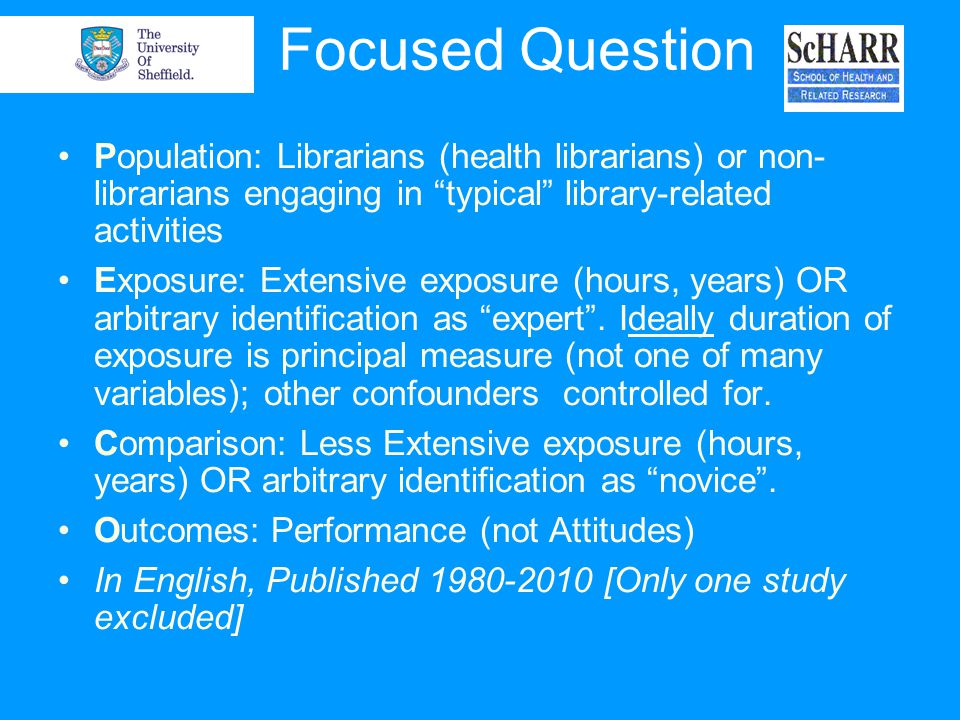 Focused Question Population: Librarians (health librarians) or non- librarians engaging in typical library-related activities Exposure: Extensive expo