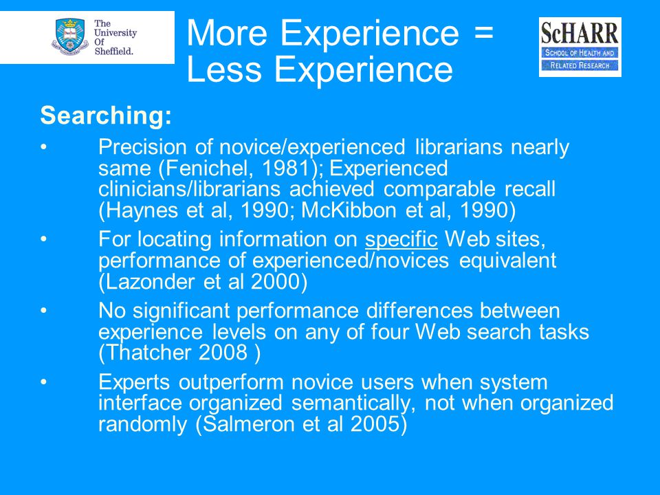 More Experience = Less Experience Searching: Precision of novice/experienced librarians nearly same (Fenichel, 1981); Experienced clinicians/librarian