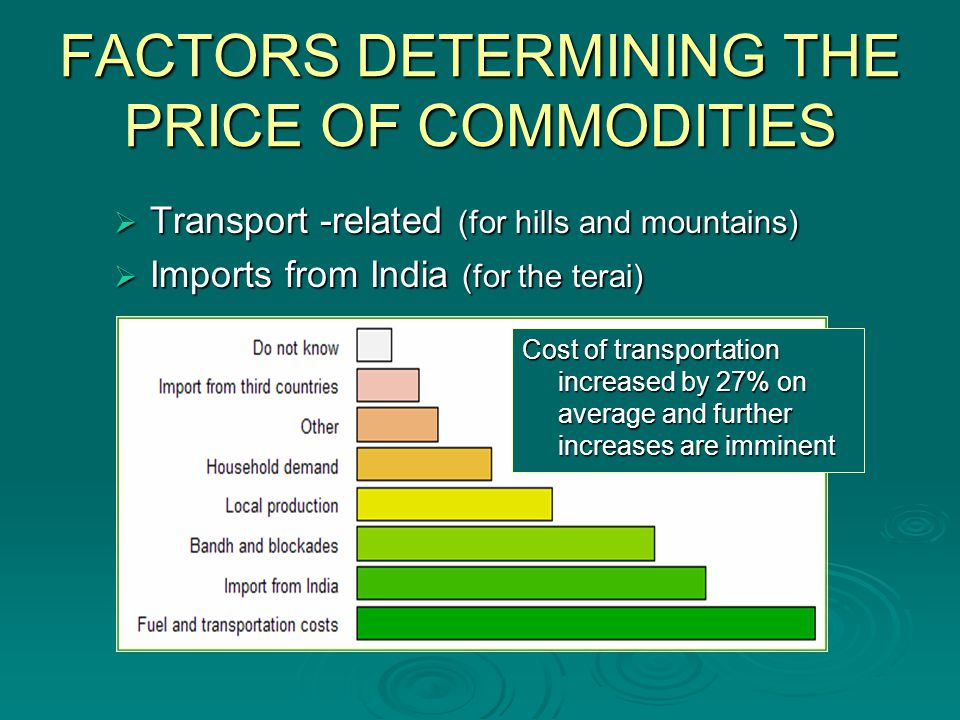 FACTORS DETERMINING THE PRICE OF COMMODITIES Transport -related (for hills and mountains) Transport -related (for hills and mountains) Imports from India (for the terai) Imports from India (for the terai) Cost of transportation increased by 27% on average and further increases are imminent