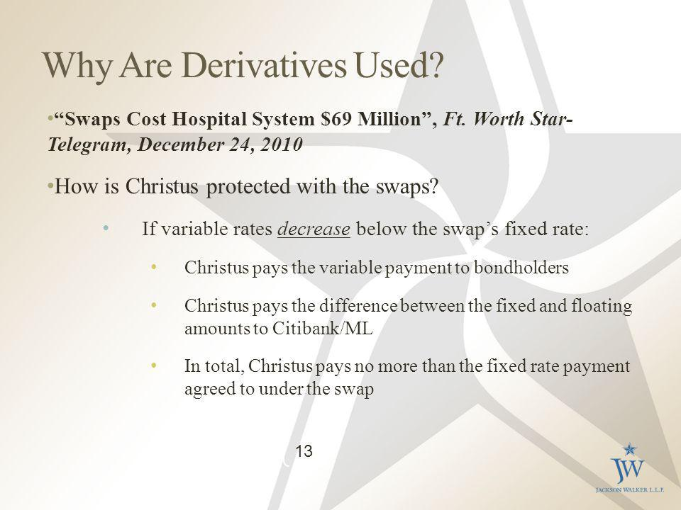 Why Are Derivatives Used. Swaps Cost Hospital System $69 Million, Ft.