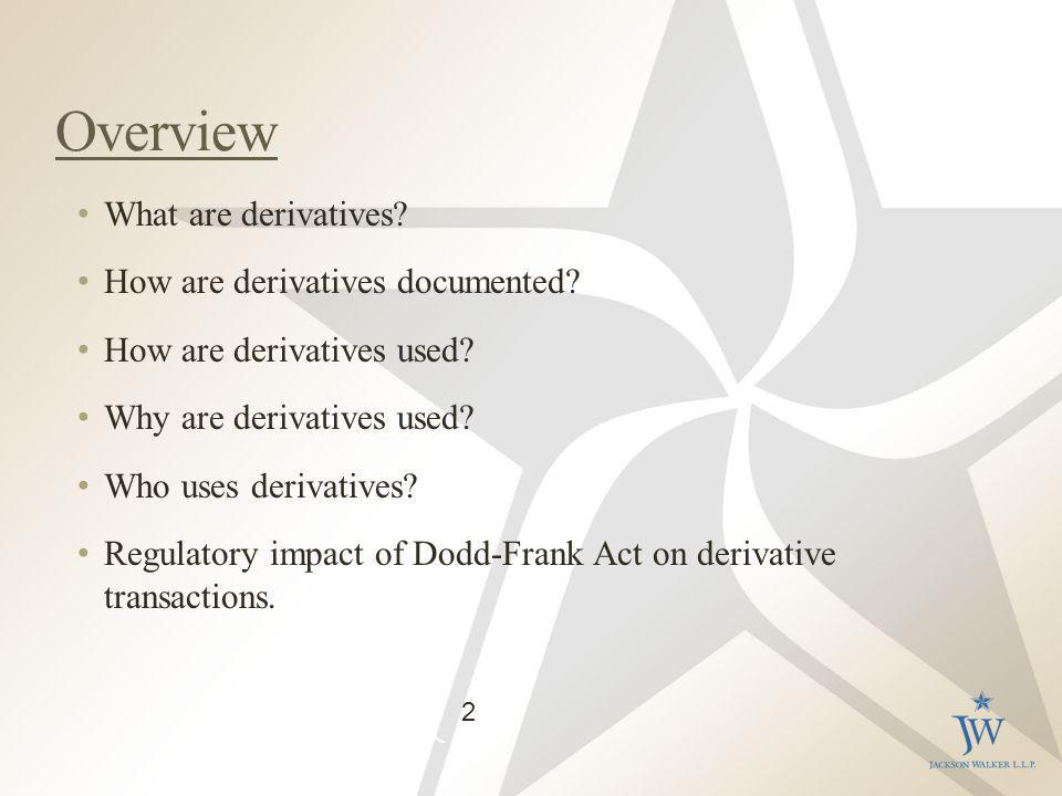 Overview What are derivatives. How are derivatives documented.