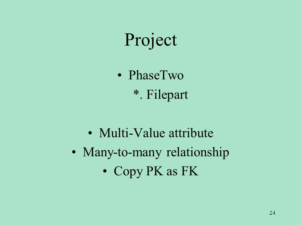 Project PhaseTwo *. Filepart Multi-Value attribute Many-to-many relationship Copy PK as FK 24