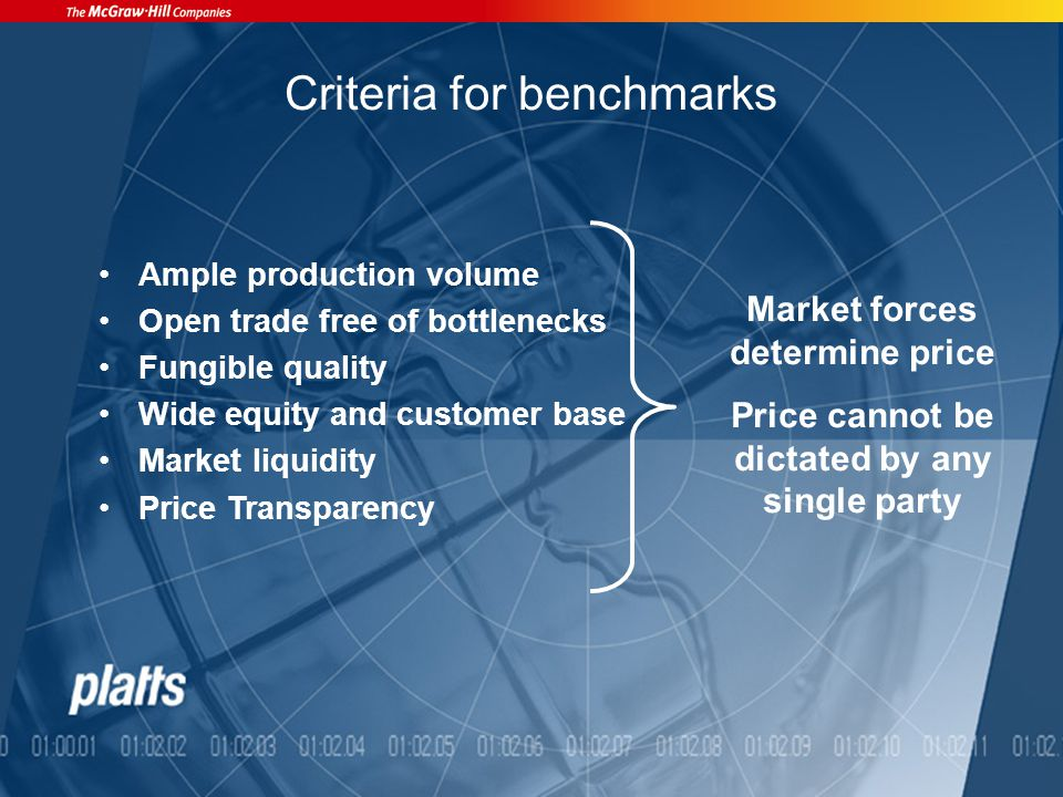 Criteria for benchmarks Ample production volume Open trade free of bottlenecks Fungible quality Wide equity and customer base Market liquidity Price Transparency Market forces determine price Price cannot be dictated by any single party