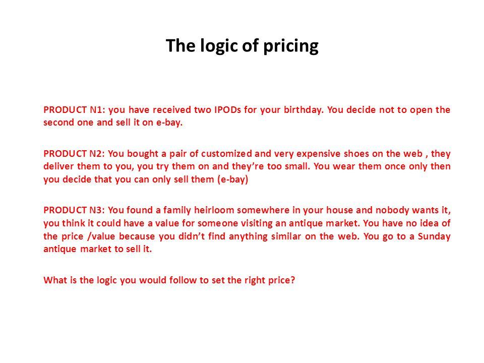 Price setting 1.