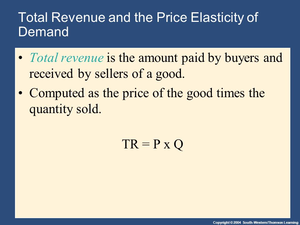 Copyright © 2004 South-Western/Thomson Learning Total Revenue and the Price Elasticity of Demand Total revenue is the amount paid by buyers and receiv