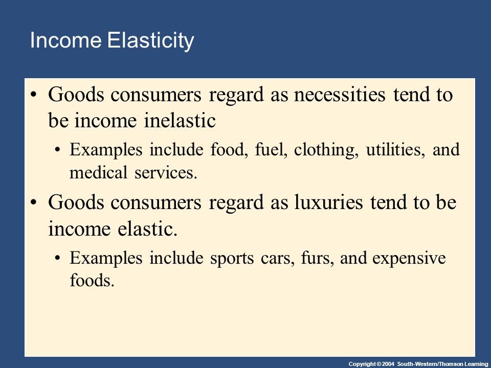 Copyright © 2004 South-Western/Thomson Learning Income Elasticity Goods consumers regard as necessities tend to be income inelastic Examples include food, fuel, clothing, utilities, and medical services.