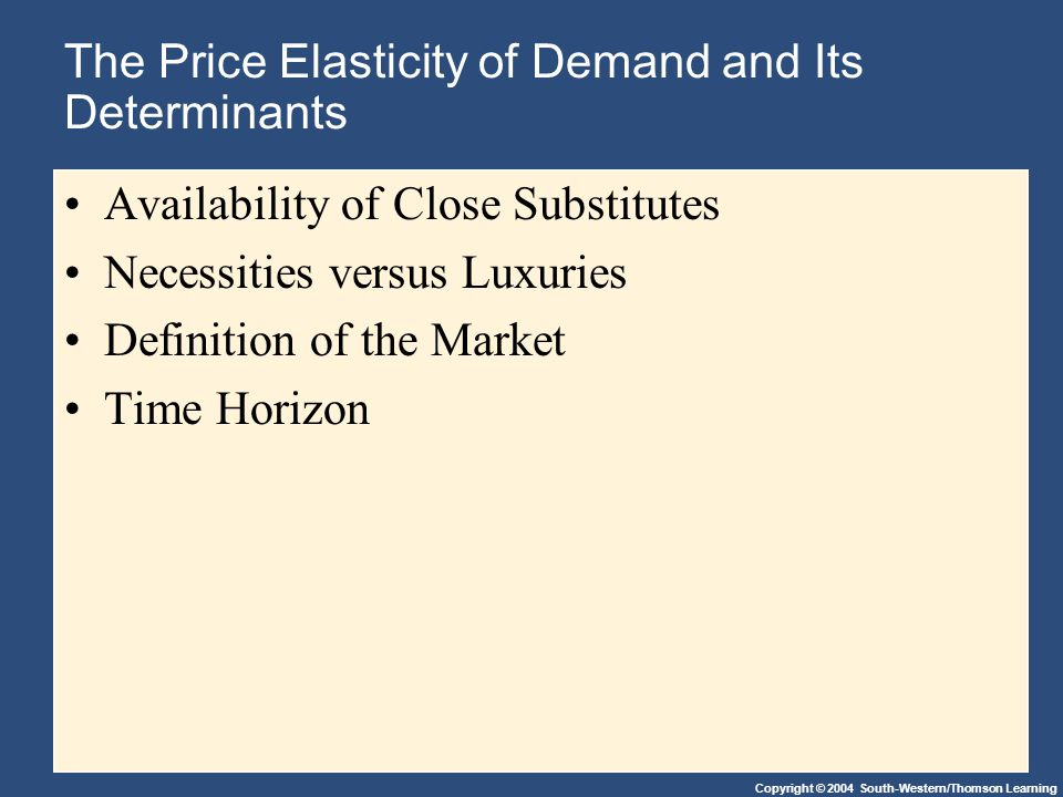 Copyright © 2004 South-Western/Thomson Learning The Price Elasticity of Demand and Its Determinants Availability of Close Substitutes Necessities versus Luxuries Definition of the Market Time Horizon
