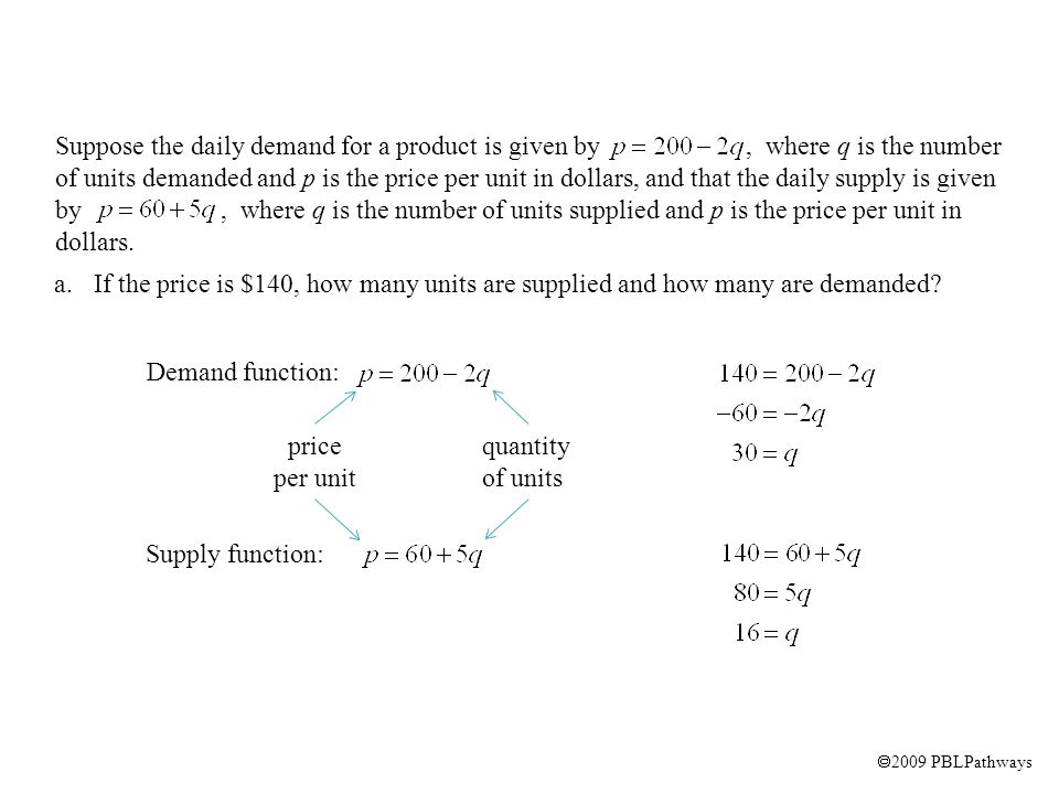 2009 PBLPathways Demand function: Supply function: price per unit quantity of units a.If the price is $140, how many units are supplied and how many are demanded.