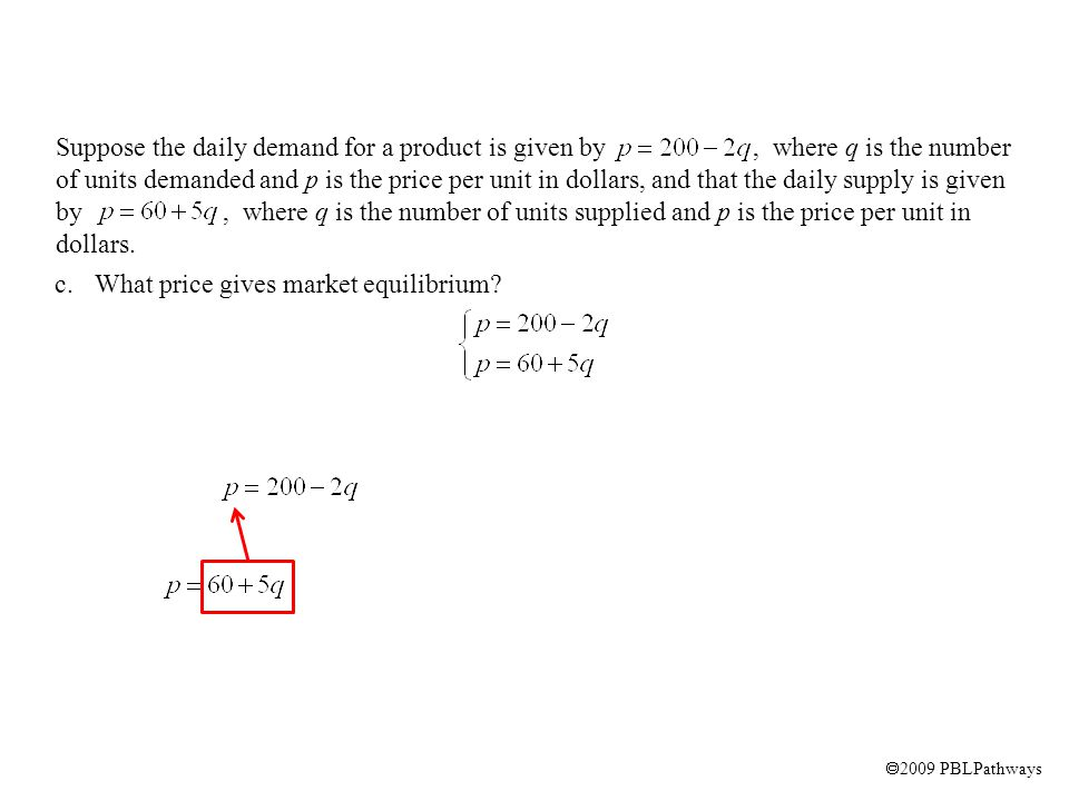 2009 PBLPathways c.What price gives market equilibrium.