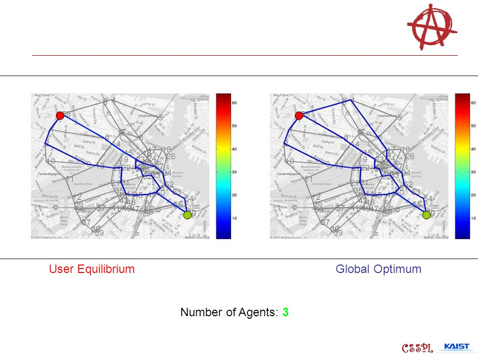 User Equilibrium Global Optimum Number of Agents: 3 CSSPL