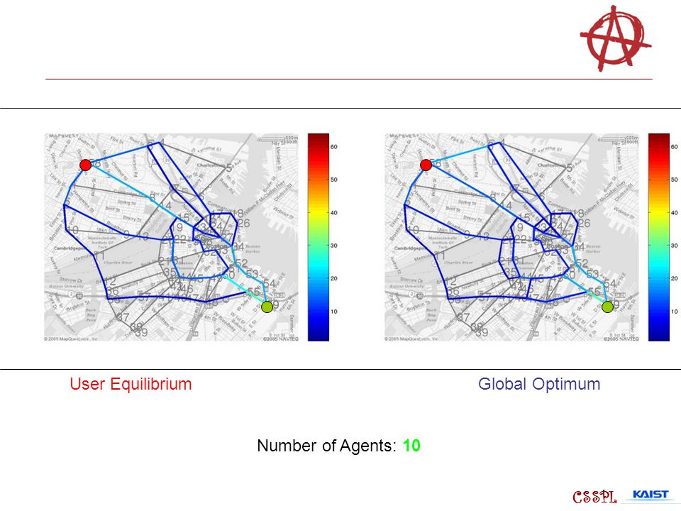 User Equilibrium Global Optimum Number of Agents: 10 CSSPL