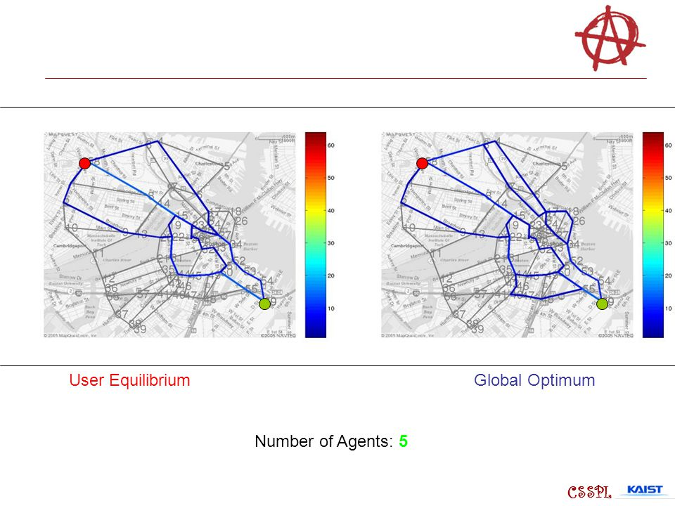 User Equilibrium Global Optimum Number of Agents: 5 CSSPL