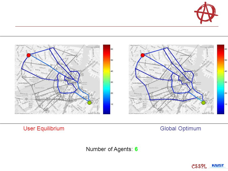 User Equilibrium Global Optimum Number of Agents: 6 CSSPL