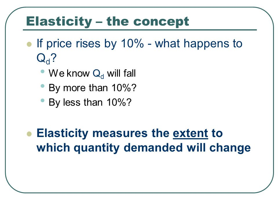 Elasticity 4 basic types used: Price elasticity of demand – PED Price elasticity of supply – PES Income elasticity of demand – YED Cross elasticity – Cross ED or XED