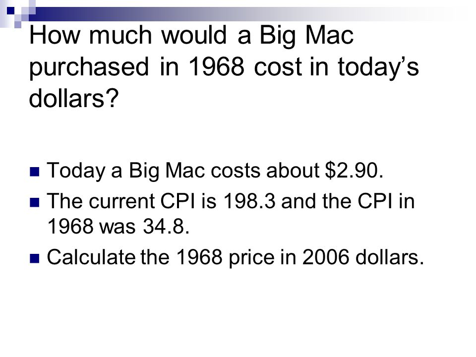 How much would a Big Mac purchased in 1968 cost in todays dollars.