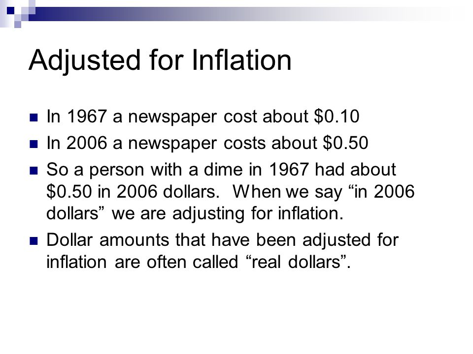 Adjusted for Inflation In 1967 a newspaper cost about $0.10 In 2006 a newspaper costs about $0.50 So a person with a dime in 1967 had about $0.50 in 2006 dollars.
