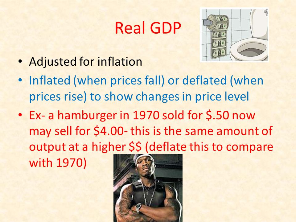 Real GDP Adjusted for inflation Inflated (when prices fall) or deflated (when prices rise) to show changes in price level Ex- a hamburger in 1970 sold for $.50 now may sell for $4.00- this is the same amount of output at a higher $$ (deflate this to compare with 1970)