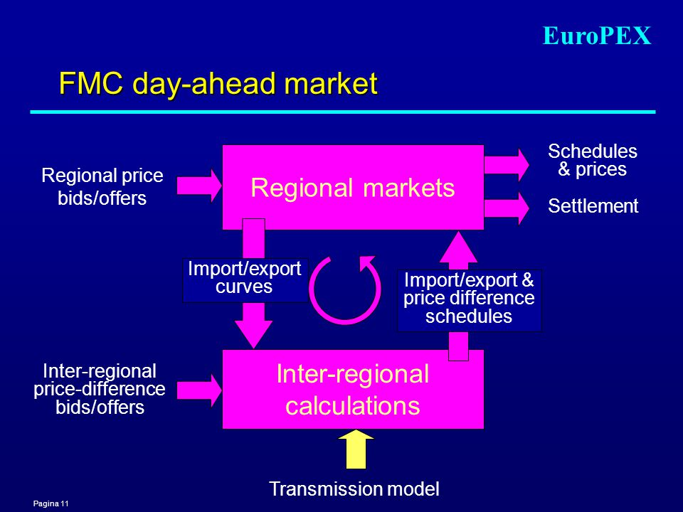 Pagina 11 EuroPEX FMC day-ahead market Inter-regional price-difference bids/offers Schedules & prices Transmission model Regional markets Inter-regional calculations Import/export curves Regional price bids/offers Settlement Import/export & price difference schedules