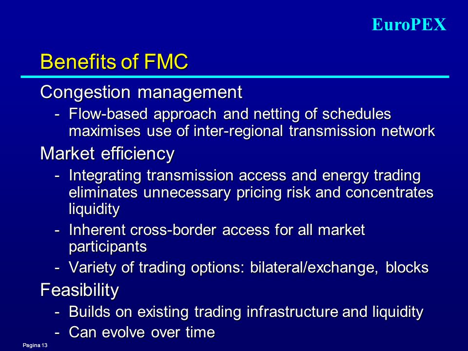Pagina 13 EuroPEX Benefits of FMC Congestion management -Flow-based approach and netting of schedules maximises use of inter-regional transmission net