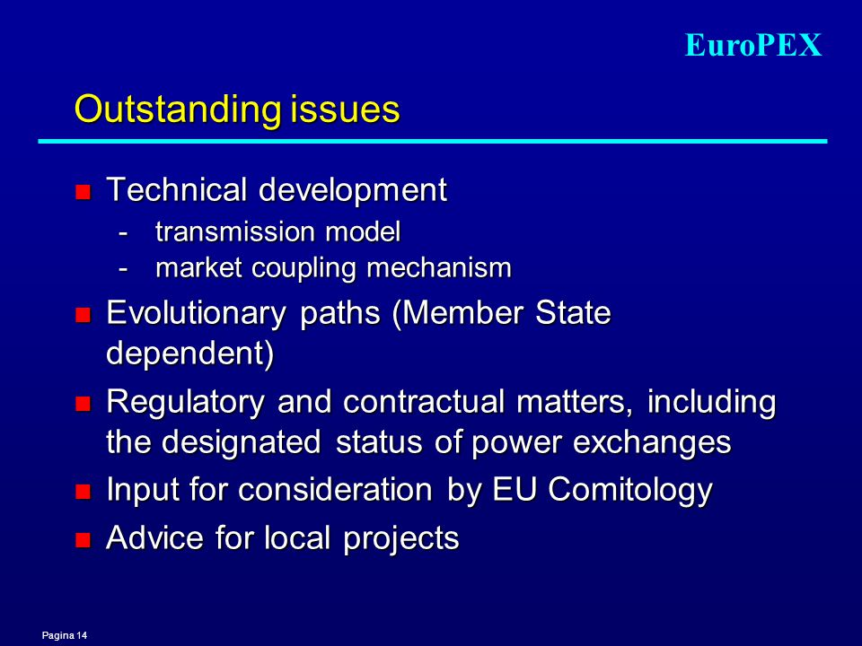 Pagina 14 EuroPEX Outstanding issues n Technical development -transmission model - market coupling mechanism n Evolutionary paths (Member State dependent) n Regulatory and contractual matters, including the designated status of power exchanges n Input for consideration by EU Comitology n Advice for local projects