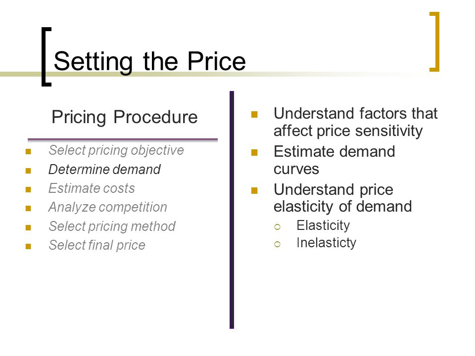 Price Sensitivity Situations That Increase Price Sensitivity Availability of product substitutes Higher total expenditure Noticeable differences Easy price comparison Situations That Decrease Price Sensitivity Real or perceived necessities Lack of product substitutes Complementary products Product differentiation Perceived product benefits Situational influences