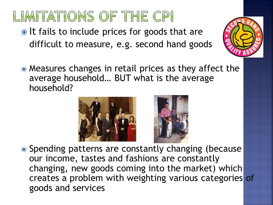 It fails to include prices for goods that are difficult to measure, e.g.