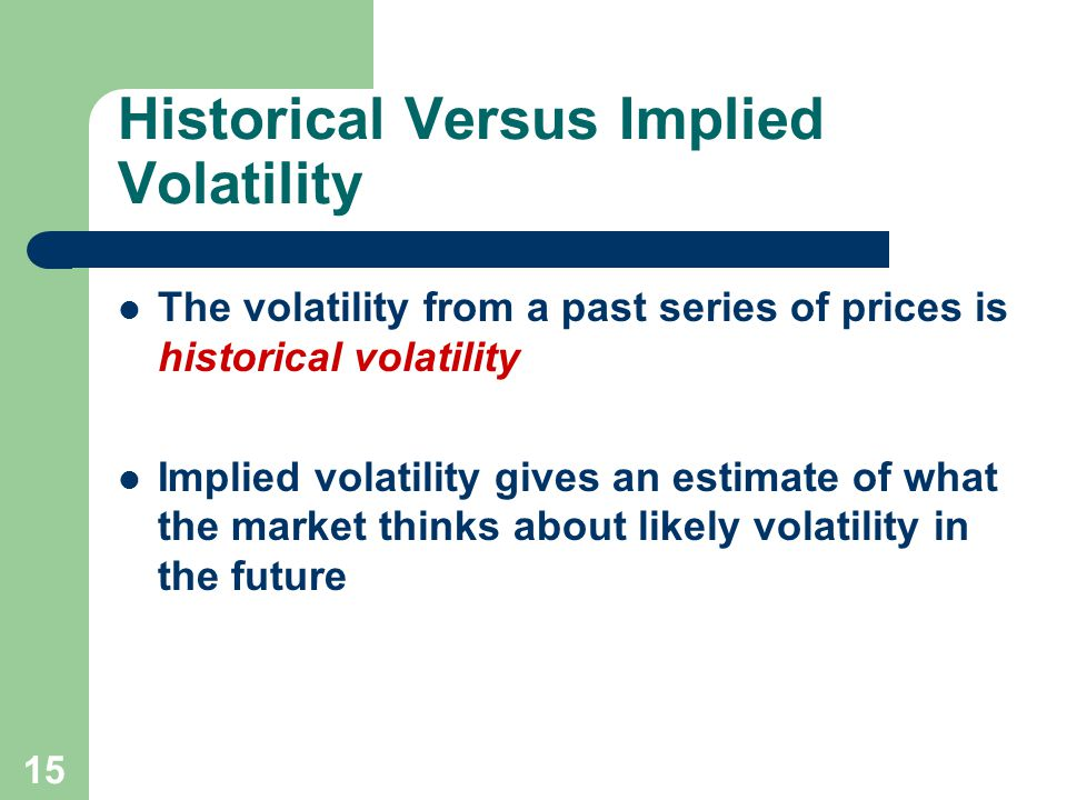 15 Historical Versus Implied Volatility The volatility from a past series of prices is historical volatility Implied volatility gives an estimate of what the market thinks about likely volatility in the future
