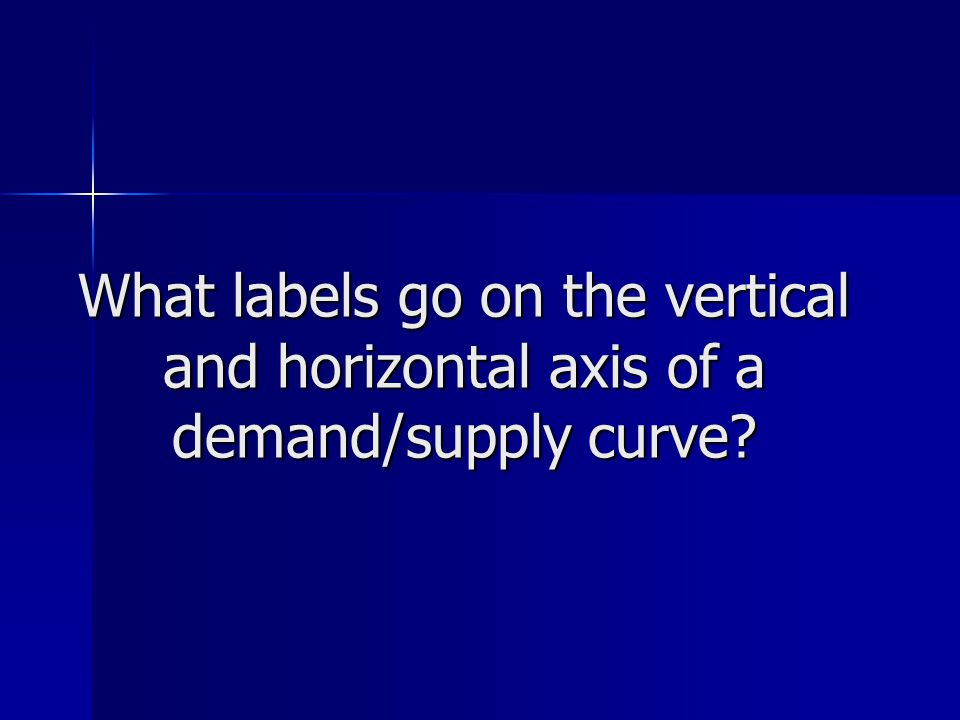 What labels go on the vertical and horizontal axis of a demand/supply curve?