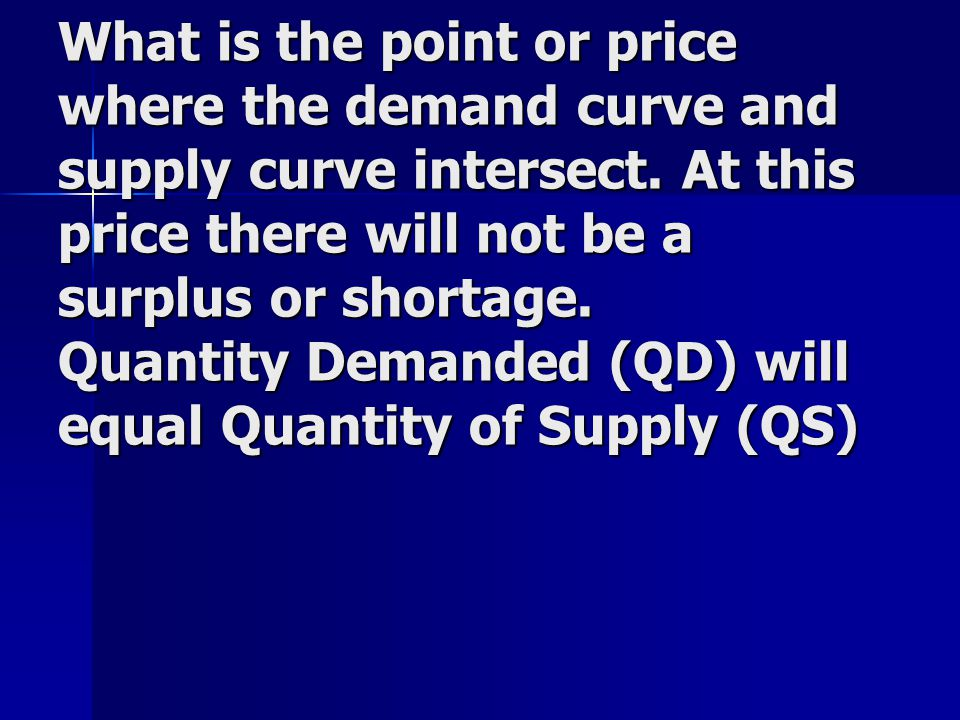 What is the point or price where the demand curve and supply curve intersect. At this price there will not be a surplus or shortage. Quantity Demanded