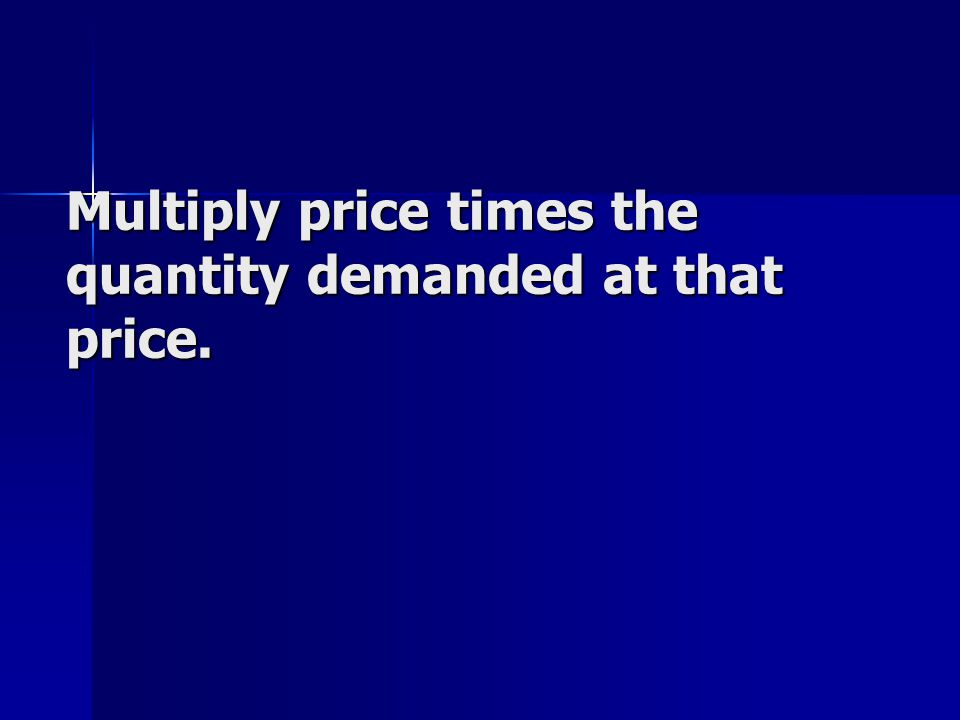 Multiply price times the quantity demanded at that price.