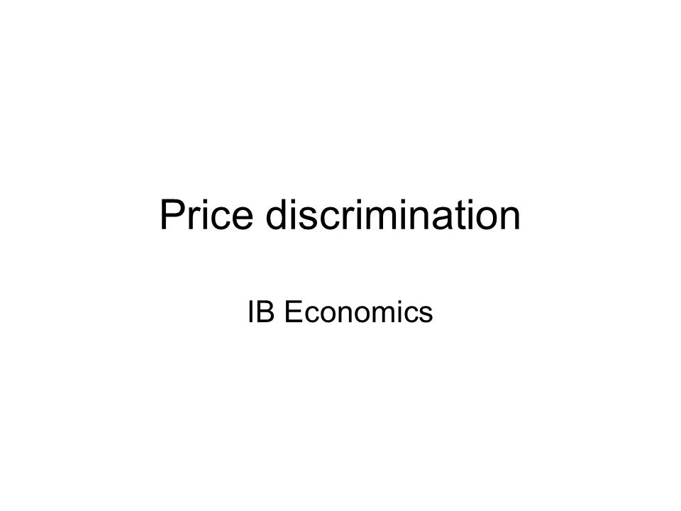 Price discrimination IB Economics