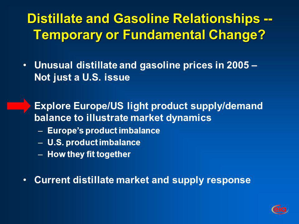 Distillate and Gasoline Relationships -- Temporary or Fundamental Change? Unusual distillate and gasoline prices in 2005 – Not just a U.S. issue Explo