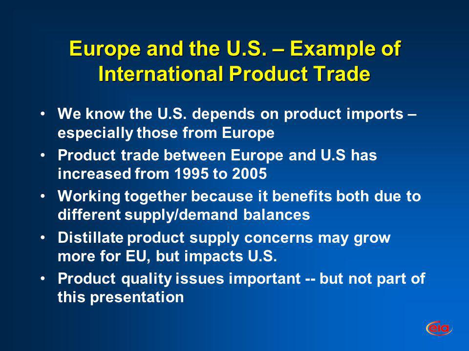 Europe and the U.S. – Example of International Product Trade We know the U.S. depends on product imports – especially those from Europe Product trade