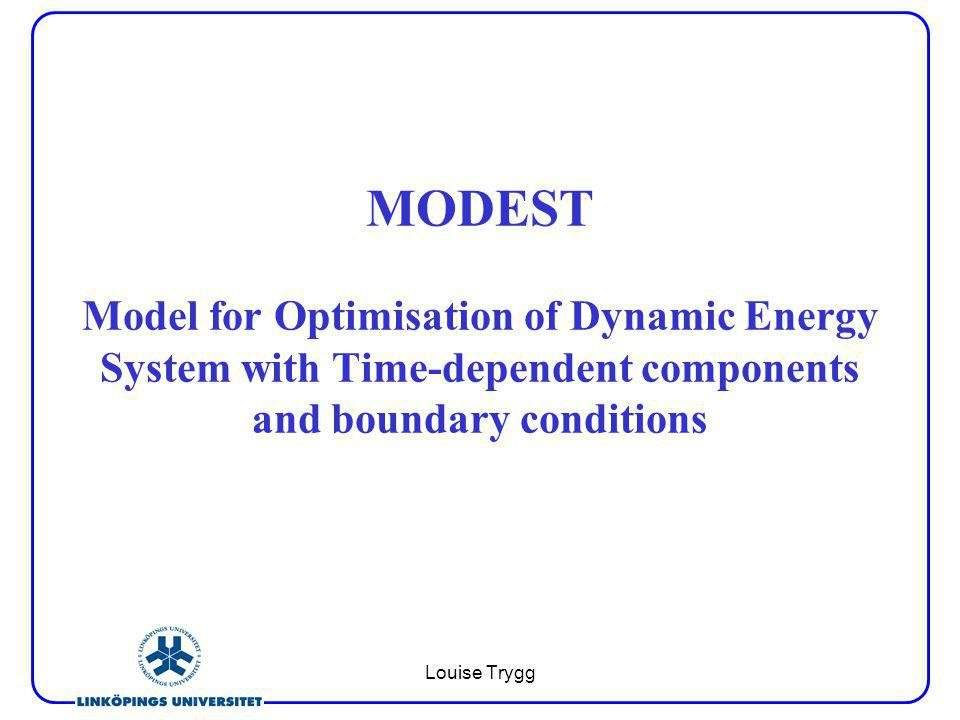 Louise Trygg MODEST Model for Optimisation of Dynamic Energy System with Time-dependent components and boundary conditions