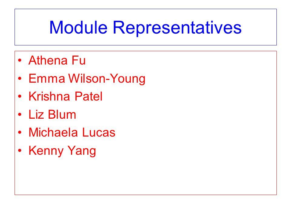 Module Representatives Athena Fu Emma Wilson-Young Krishna Patel Liz Blum Michaela Lucas Kenny Yang