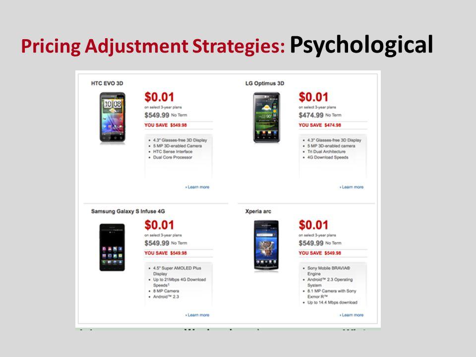 Pricing Adjustment Strategies: Psychological