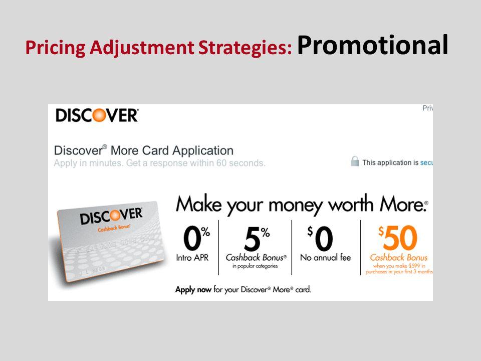 Pricing Adjustment Strategies: Promotional