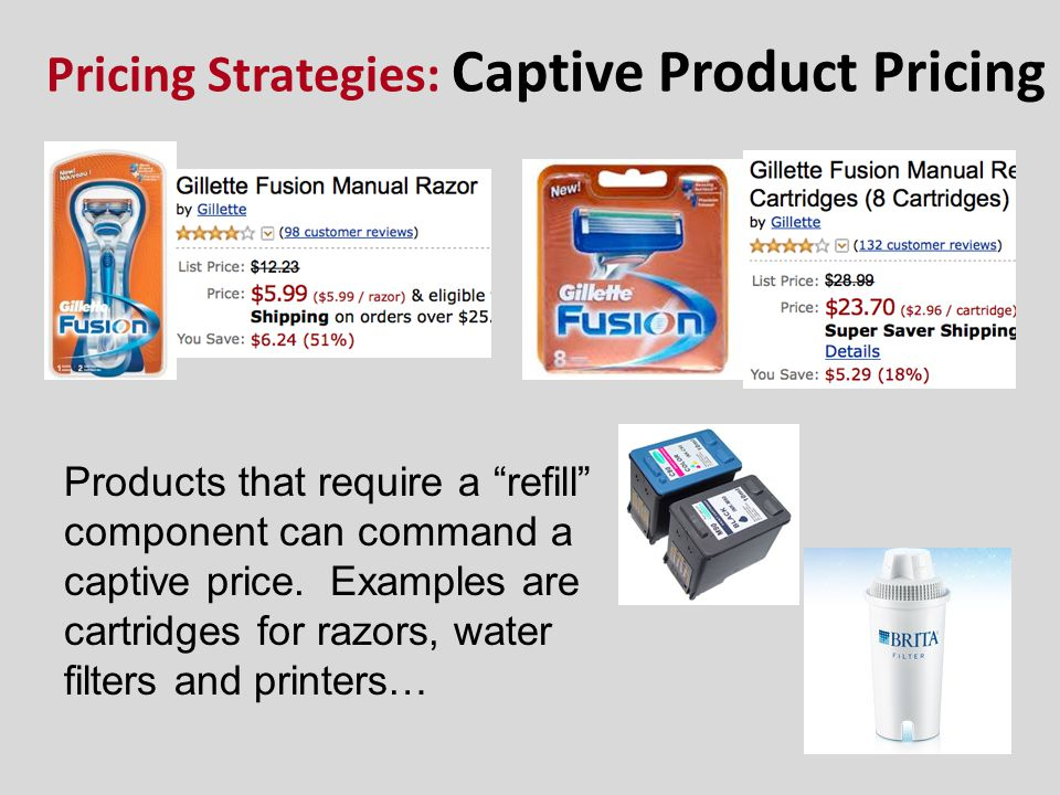 Pricing Strategies: Captive Product Pricing Products that require a refill component can command a captive price. Examples are cartridges for razors,