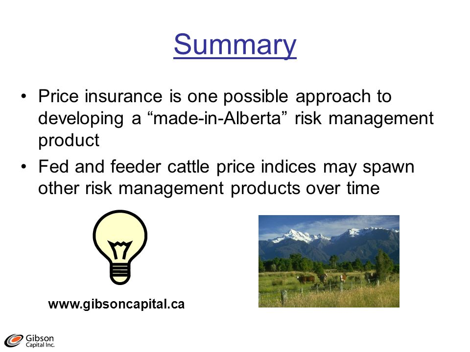 Summary Price insurance is one possible approach to developing a made-in-Alberta risk management product Fed and feeder cattle price indices may spawn other risk management products over time www.gibsoncapital.ca