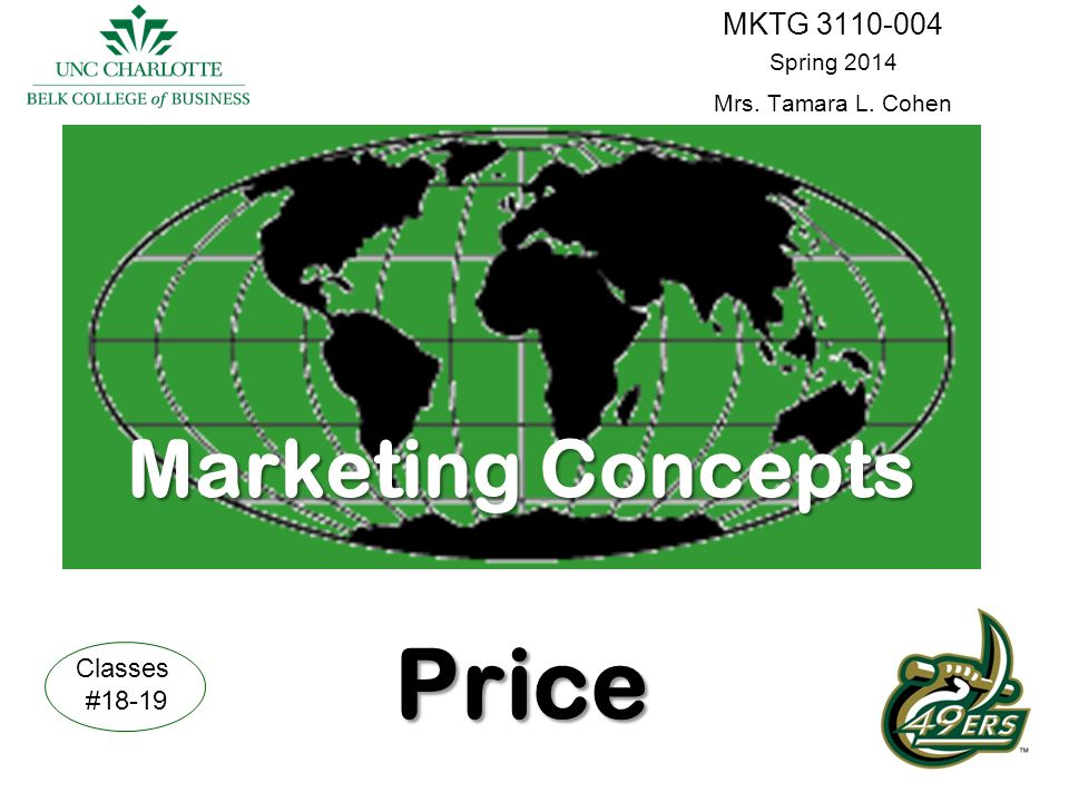 Marketing Concepts Price MKTG 3110-004 Spring 2014 Mrs. Tamara L. Cohen Classes #18-19