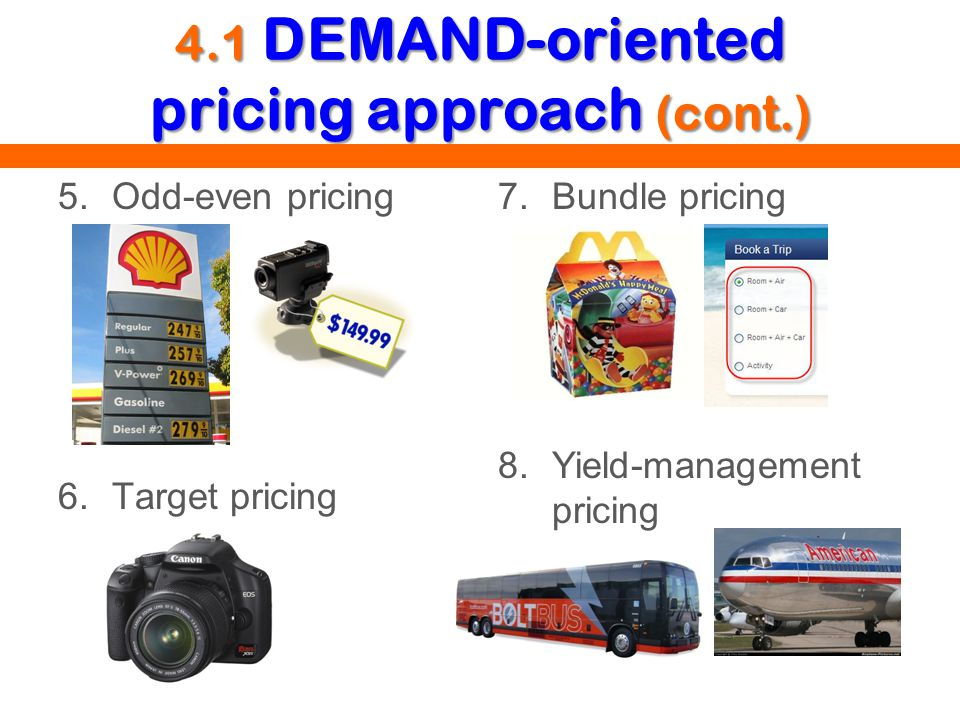 4.1 DEMAND-oriented pricing approach (cont.) 5.Odd-even pricing 6.Target pricing 7.Bundle pricing 8.Yield-management pricing