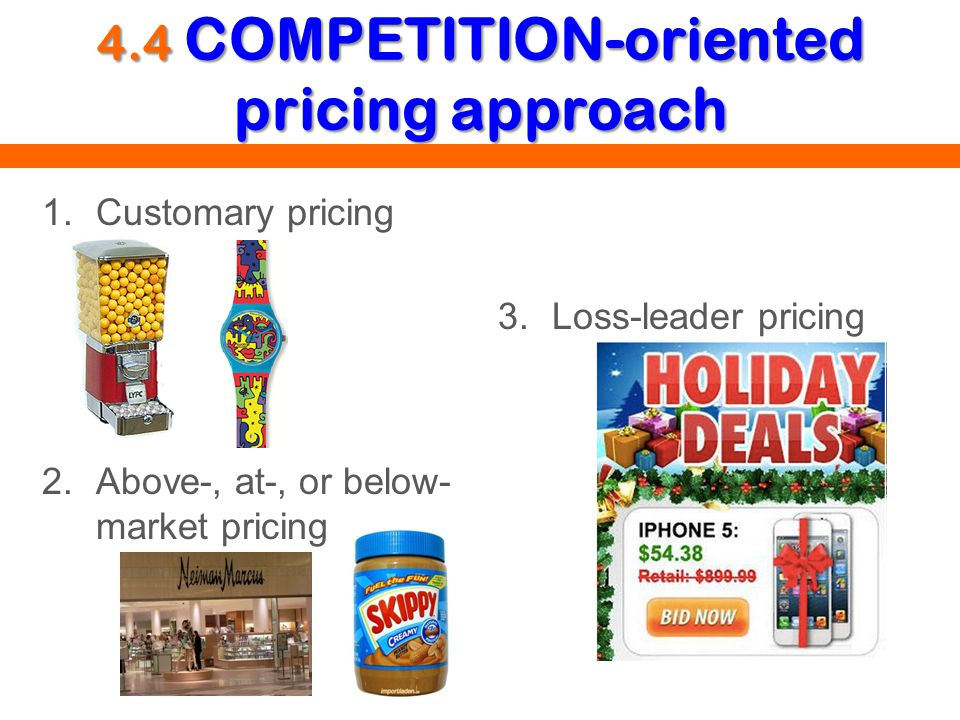4.4 COMPETITION-oriented pricing approach 1.Customary pricing 2.Above-, at-, or below- market pricing 3.Loss-leader pricing