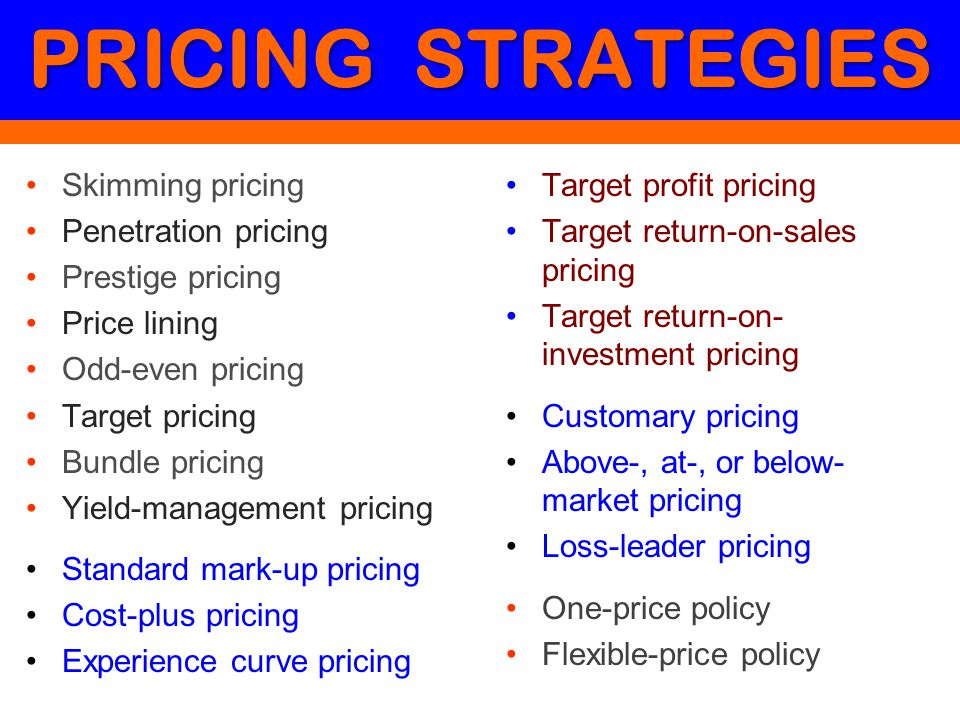 PRICING STRATEGIES Skimming pricing Penetration pricing Prestige pricing Price lining Odd-even pricing Target pricing Bundle pricing Yield-management