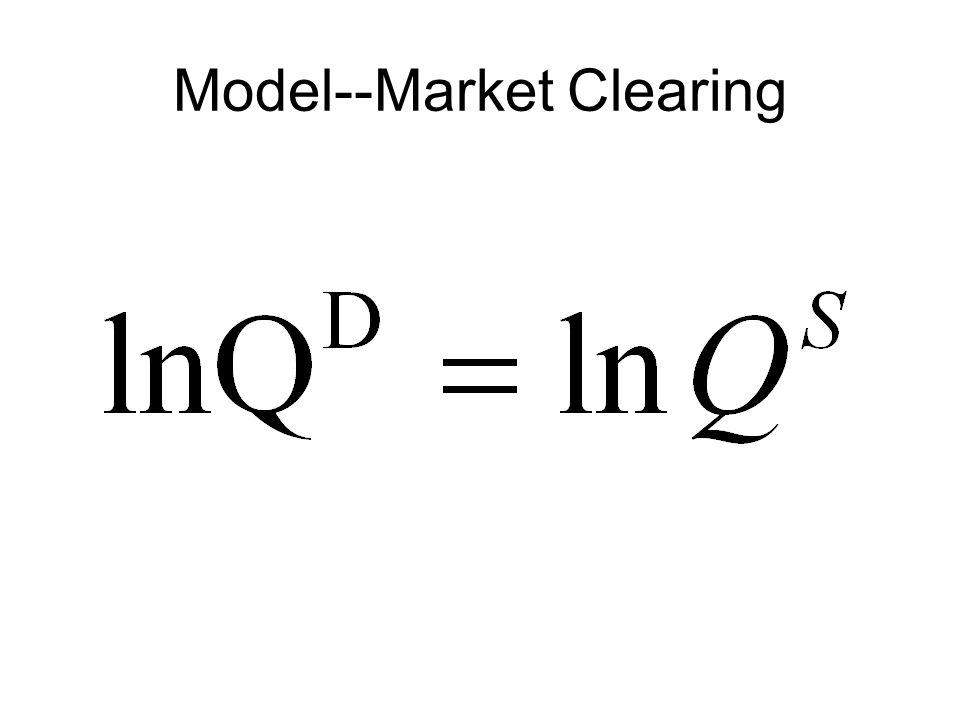 Model--Market Clearing