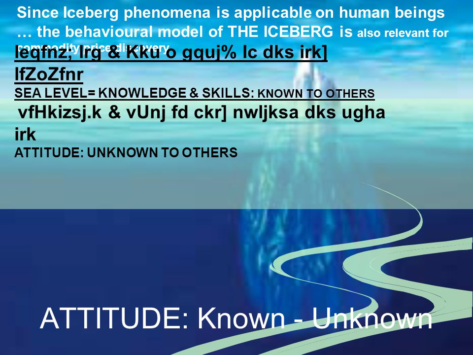 ATTITUDE: Known - Unknown Since Iceberg phenomena is applicable on human beings … the behavioural model of THE ICEBERG is also relevant for commodity