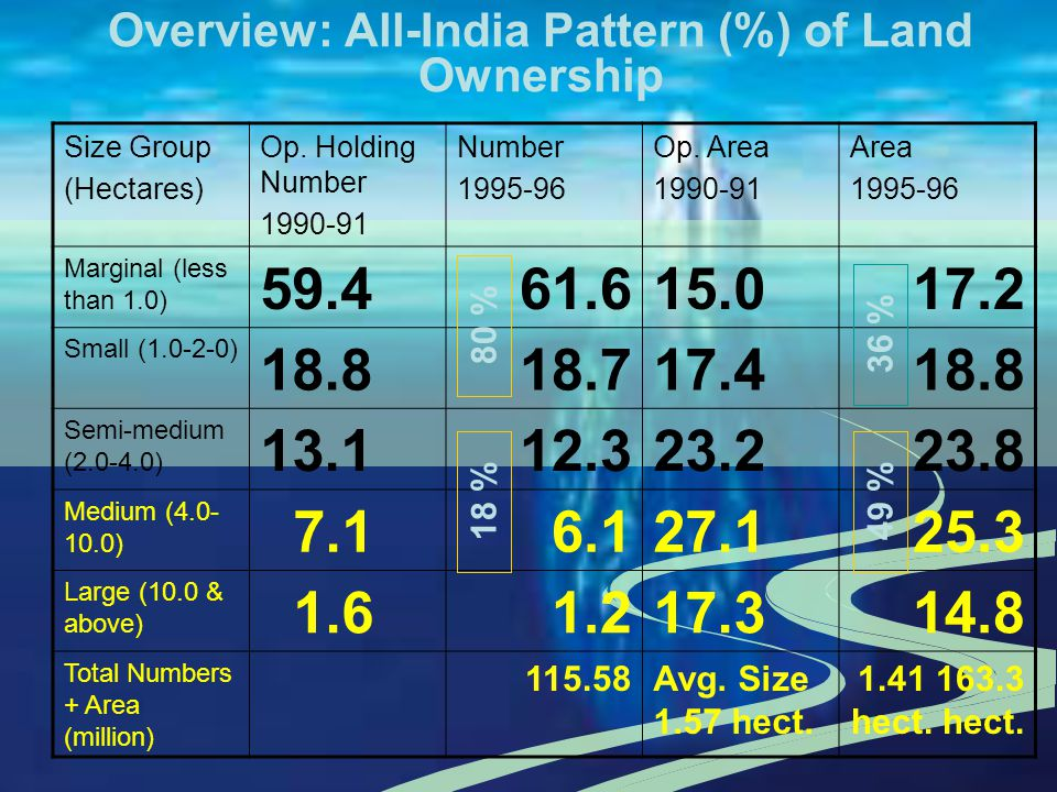 Overview: All-India Pattern (%) of Land Ownership Size Group (Hectares) Op. Holding Number 1990-91 Number 1995-96 Op. Area 1990-91 Area 1995-96 Margin